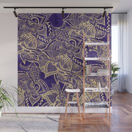 Gold hand drawn floral lace mandala on purple watercolor peacock Wall Mural