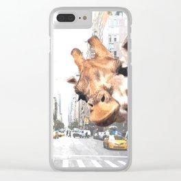 Selfie Giraffe in New York Clear iPhone Case
