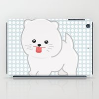 pomeranian iPad Cases featuring White Pomeranian by Pati Designs