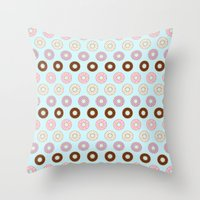 doughnut Throw Pillows featuring Doughnut Polka by Karolis Butenas