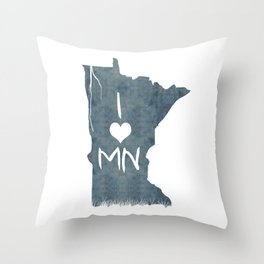 I LOVE MN Throw Pillow