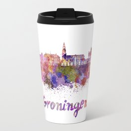 Groningen skyline in watercolor Travel Mug