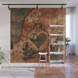 Steampunk, rusty heart Wall Mural