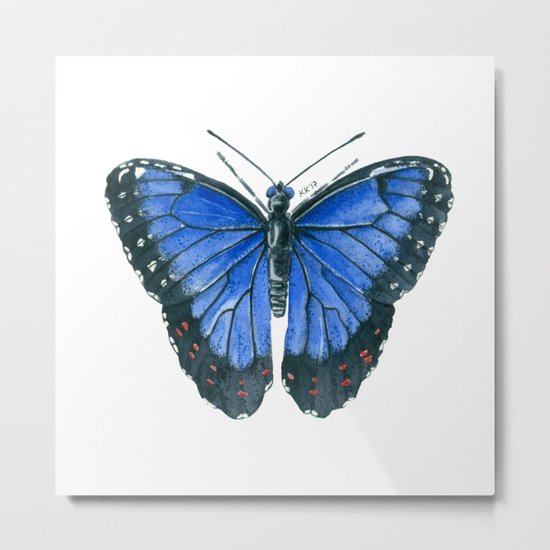Blue Morpho butterfly watercolor painting Metal Print