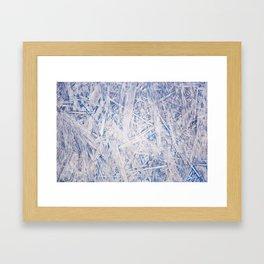 Blue chipboard texture abstract Framed Art Print