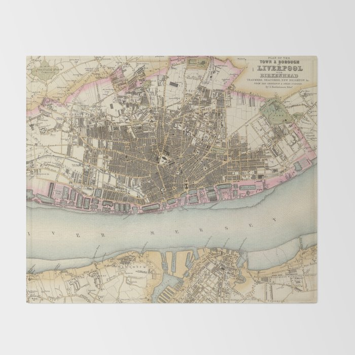 Vintage Map of Liverpool England (1872) Throw Blanket by ...