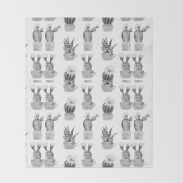 Potted Cactus Black and White Throw Blanket