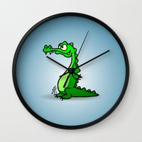 crocodile Wall Clocks featuring Crocodile by Cardvibes.com - Tekenaartje.nl