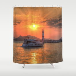 Lighthouse And Yacht Sunset Shower Curtain