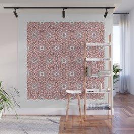 Symmetrical Flower Pattern in Pink Wall Mural