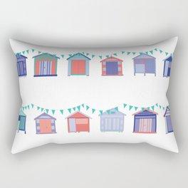 Summertime beach huts Rectangular Pillow