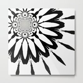 The Modern Flower White & Black Metal Print