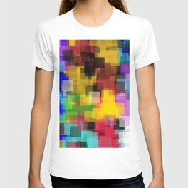 geometric square pattern painting abstract in yellow brown green pink blue T-shirt