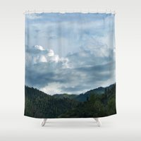 princess mononoke Shower Curtains featuring Princess Mononoke Landscape by Julie Luke