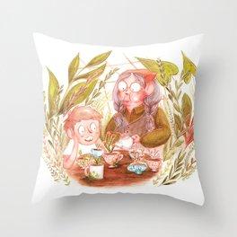Teacup Gardening Throw Pillow