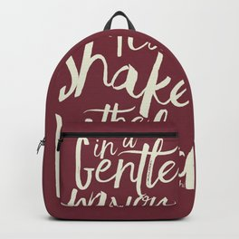Kindness quote by Mahatma Gandhi, Satyagraha, in a gentle way, you can shake the world, non violence Backpack
