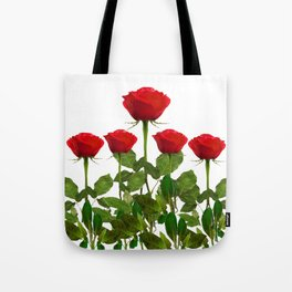 ORIGINAL GARDEN DESIGN OF RED ROSES ON WHITE Tote Bag