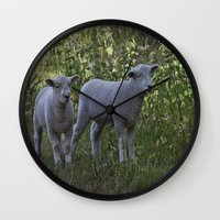 silence of the lambs Wall Clocks featuring Little Lambs by Dawn OConnor
