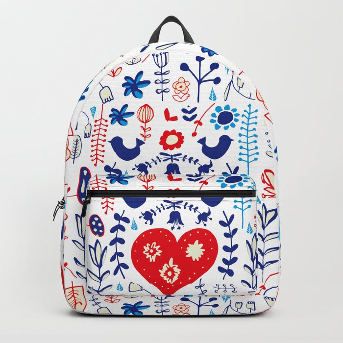 Scandi folk floral white Backpack