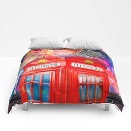 Fun Fireworks Over An Iconic Red British Phone Box Comforters