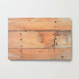 Wooden ship board with nails and screws Metal Print