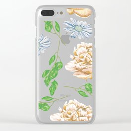 Rose Garden Navy Blue Antique Floral Pattern Clear iPhone Case