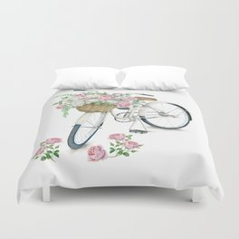 Vintage White Bicycle with English Roses Duvet Cover