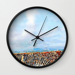 Roof and cloudy sky Wall Clock