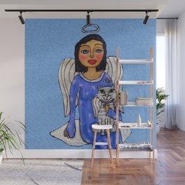 Peaceful Folk Art Angel White Cat Angel Sky on Cloud Blue Wall Mural