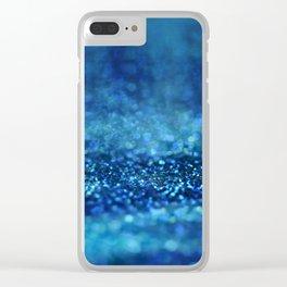 Aqua Glitter effect- Sparkling print in different blue Clear iPhone Case
