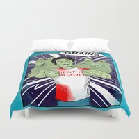 vegetarian Duvet Covers featuring Once a vegetarian... by OneAngryBear