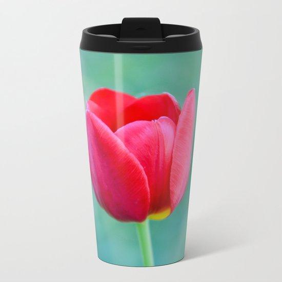 Pink Tulip, Spring Garden Flower Metal Travel Mug