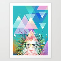 hipster lion Art Prints featuring Lion by Irmak Akcadogan