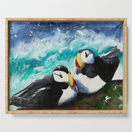 Puffins - Always together - by LiliFlore Serving Tray