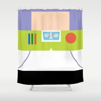 buzz lightyear Shower Curtains featuring Buzz Lightyear Minimalist by redastherose