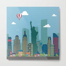 New York Cityscape Illustration Metal Print