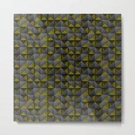 Tech Mosaic Yellow Metal Print