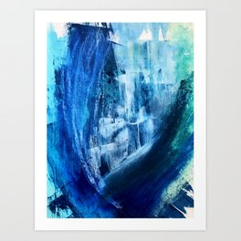 Cerulean [5]: a vibrant blue abstract with texture and layers Art Print