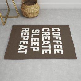 Coffee, Create, Sleep, Repeat Funny Quote Rug