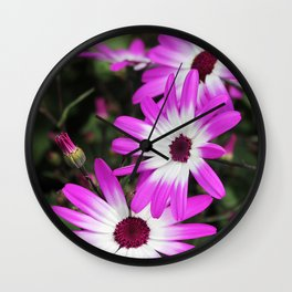 violet flowers Wall Clock