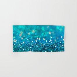 Teal turquoise blue shiny glitter print effect - Sparkle Luxury Backdrop Hand & Bath Towel