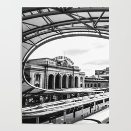 Union Station // Train Travel Downtown Denver Colorado Black and White City Photography Poster