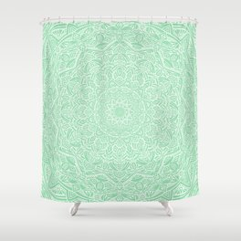 Most Detailed Mandala! Mint Green Color Intricate Detail Ethnic Mandalas Zentangle Maze Pattern Shower Curtain