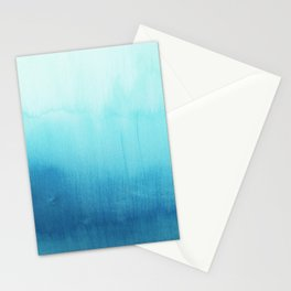 Modern teal sky blue paint watercolor brushstrokes pattern Stationery Cards