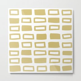Mid Century Modern Abstract Squares Pattern 442 Gold Metal Print
