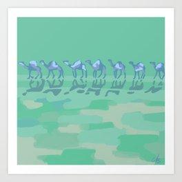 Camel Caravan Abstract Aqua Blue Art Print
