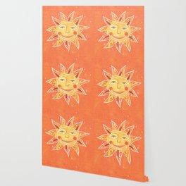 Orange Smiling Sun Face Wallpaper