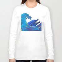 hokusai Long Sleeve T-shirts featuring Hokusai Rainbow & Dolphin by FACTORIE