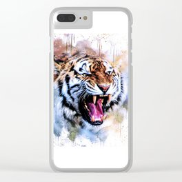 Snarling Wild Tiger with Paint Drips Clear iPhone Case