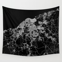 cuba Wall Tapestries featuring La Habana map Cuba by Line Line Lines